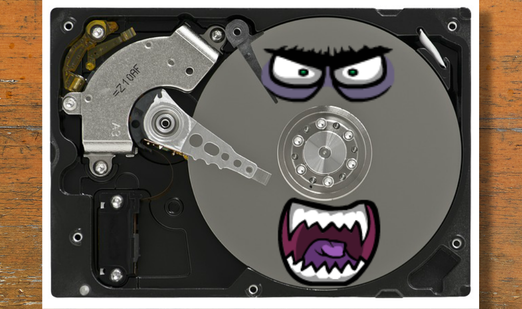 Hard Drive with Monster Face